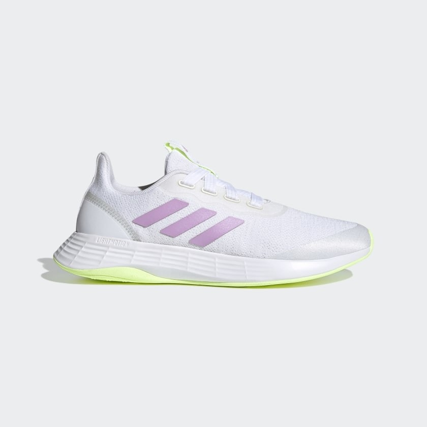 A pair of purple, white and yellow sneakers