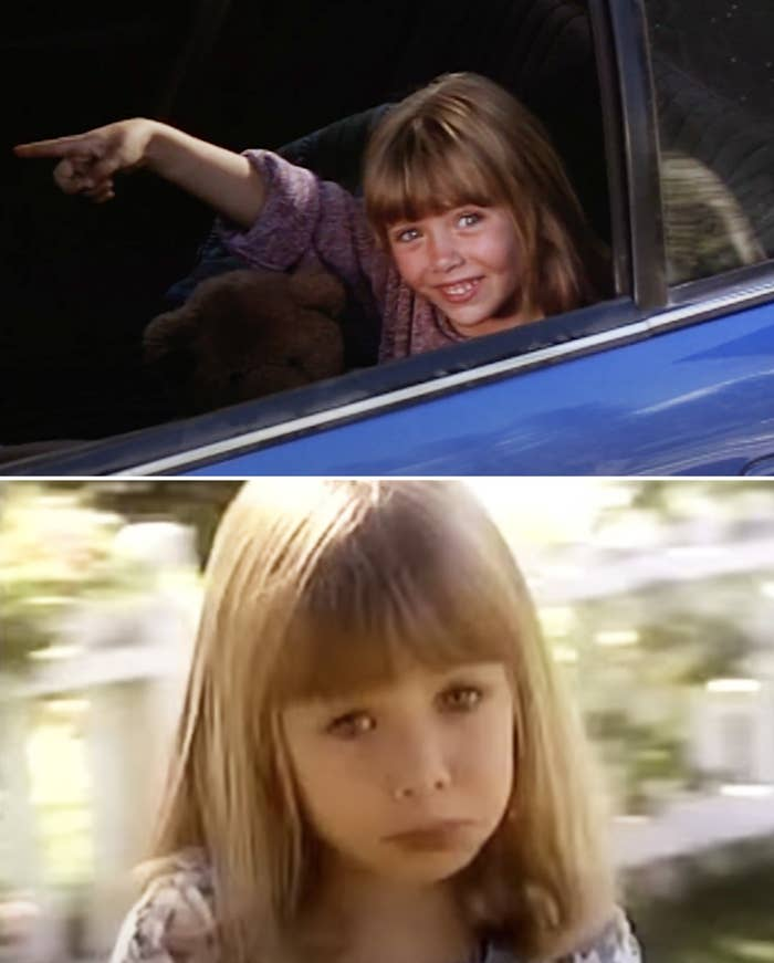 Elizabeth Olsen in 1994 sitting in a car and pointing and then Elizabeth giving a sad puppy dog face to the camera