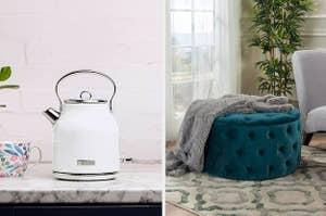 to the left: a white kettle, to the right: a circular green velvet ottoman