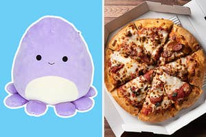On the left, Violet the octopus Squishmallow, and on the right, a pepperoni pizza in a box
