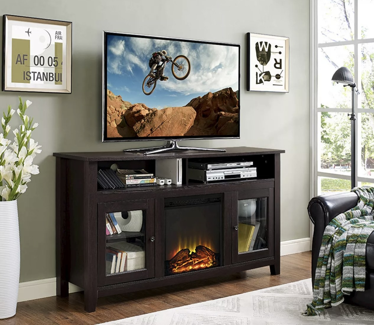 A TV stand with fireplace