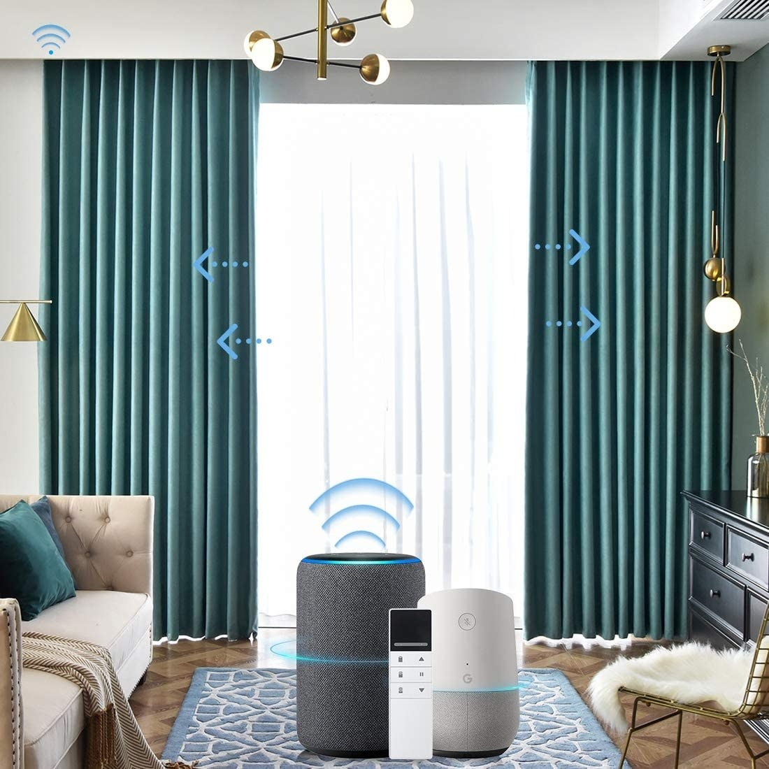 Curtains on either side of a sliding door with arrows pointing out, showing that they move without assistance. There is a remote, Amazon Alexa, and Google Home in the image to show what the curtains work with.