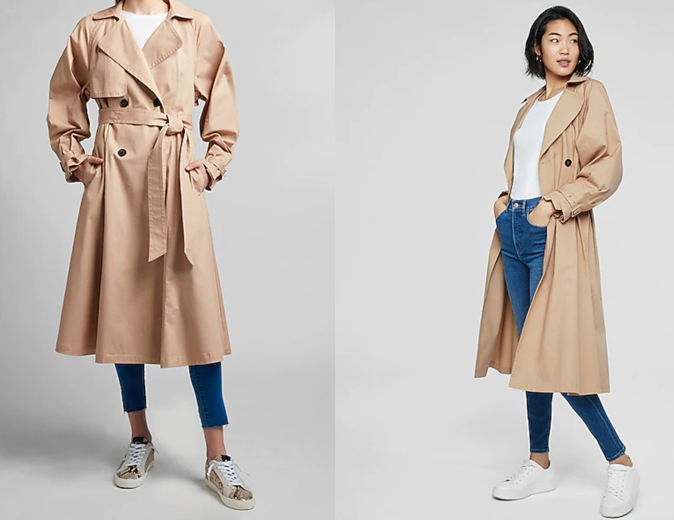 model wearing the pleated trench coat in beige, both closed and open