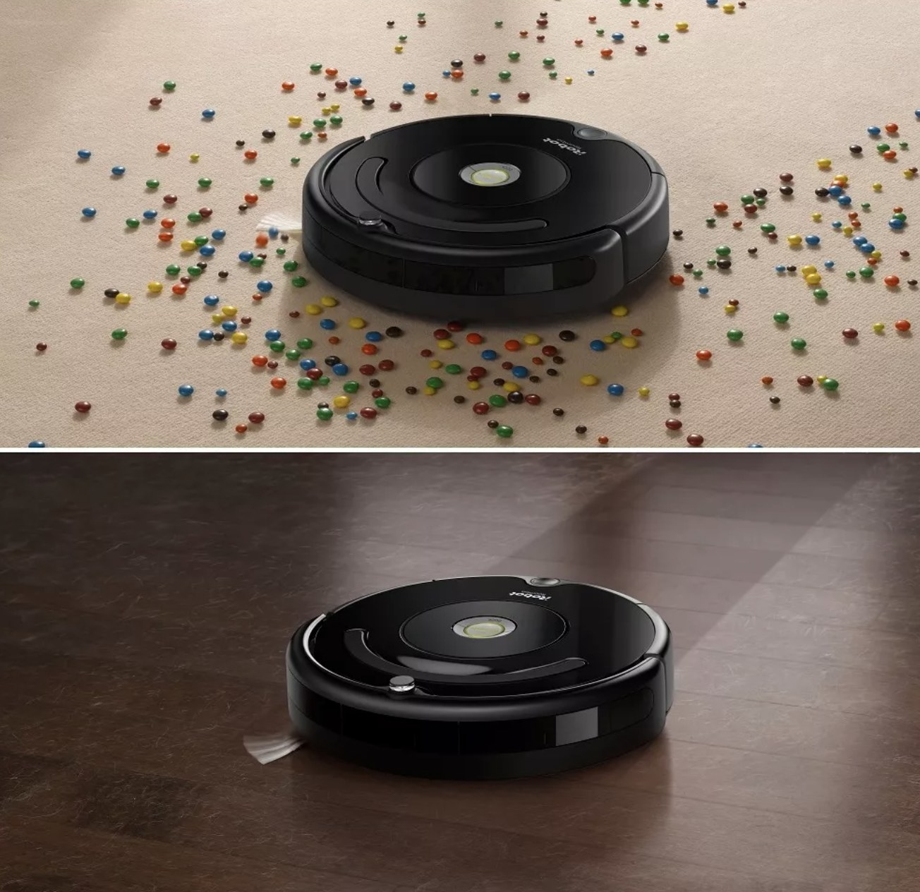 The robot vacuum cleaning spills off of carpet and hardwood