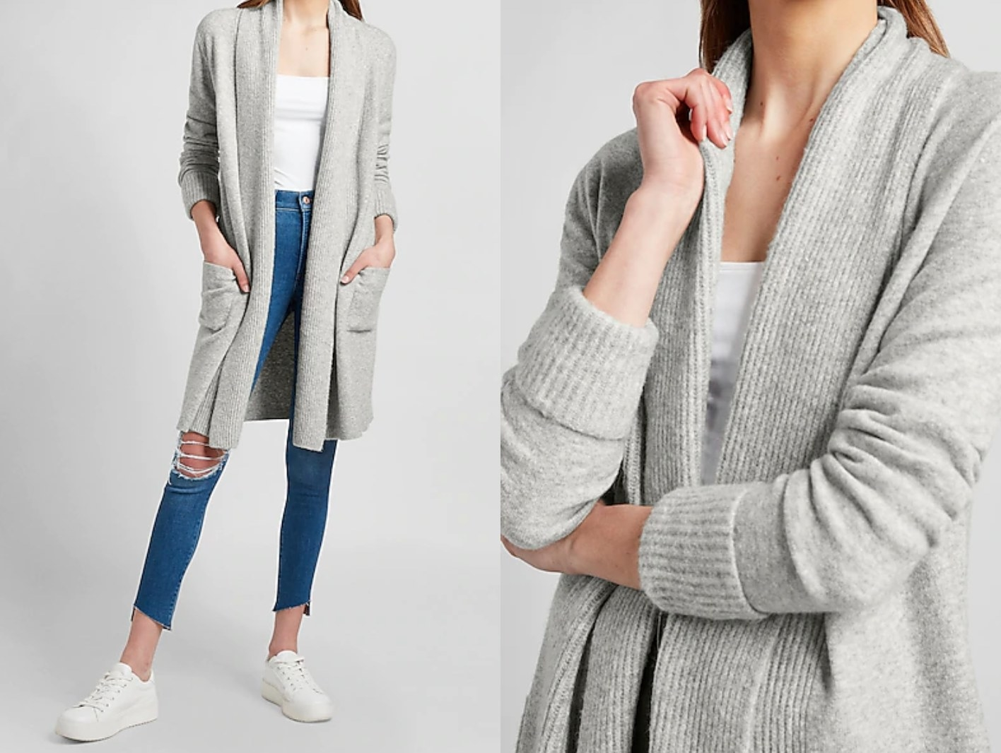 model wearing the ribbed shawl cardigan in gray with their hands int he pockets, then a close-up on the ribbed detail