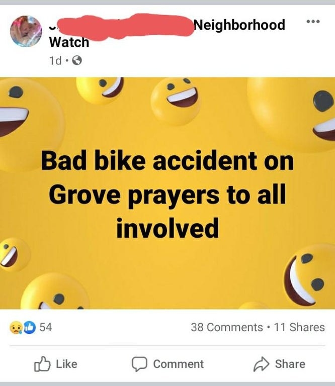 old person using the laughing crying emoji instead of a crying emoji when talking about a bike accident