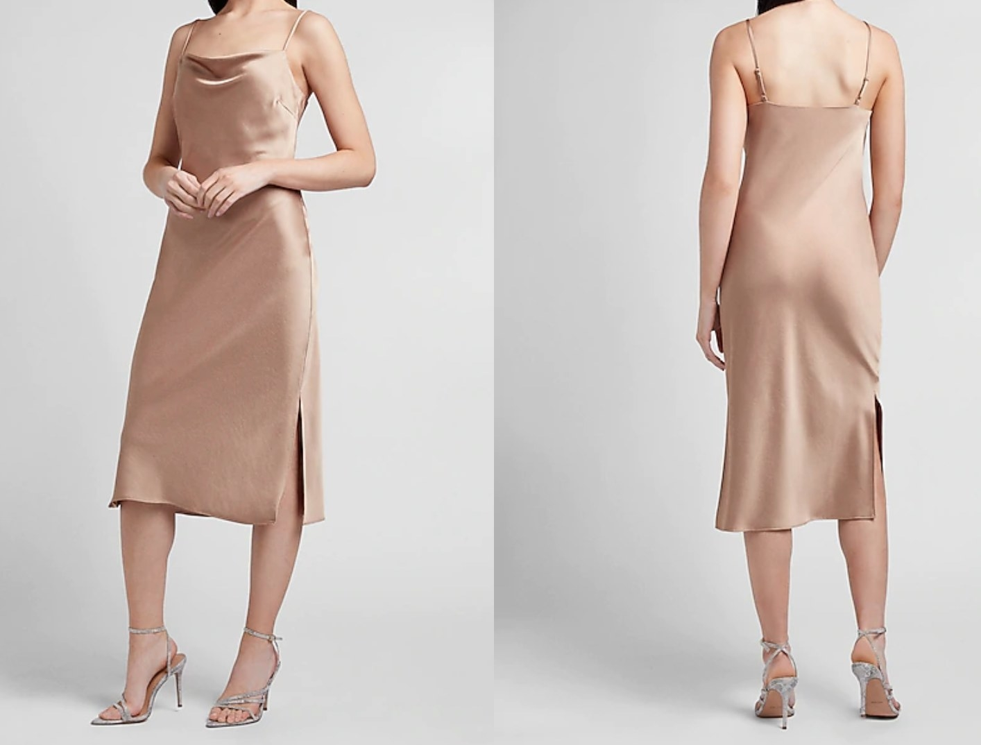model wearing the cowl neck midi slip dress in pecan, shown from front and back