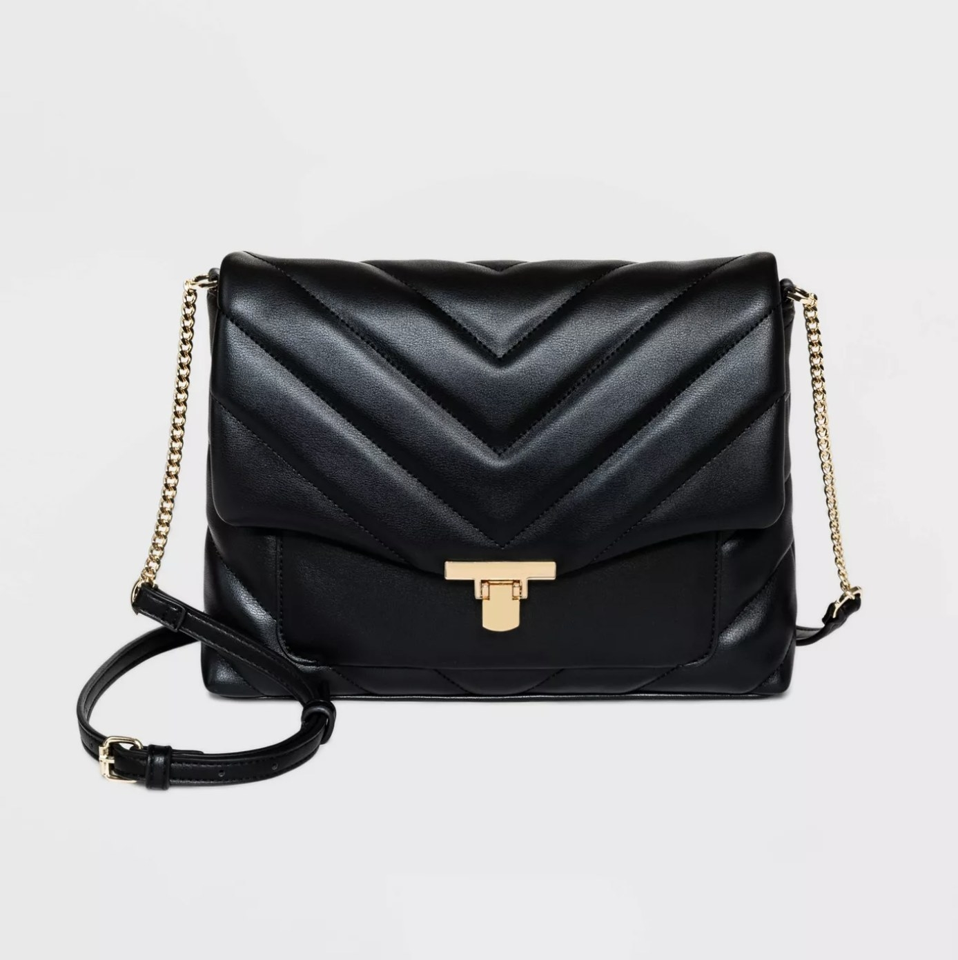 The black faux leather crossbody bag