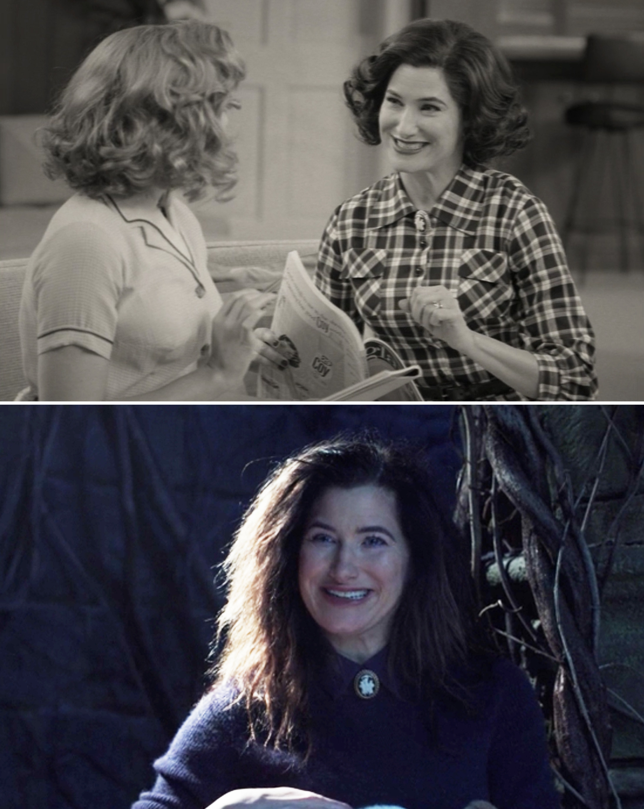 "Kathryn Hahn as Agnes in Episode 1 of ""WandaVision"" and as Agatha in Episode 7 of ""WandaVision"""