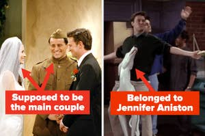 "Joey and Monica labeled ""supposed to be the main couple"" on Friends and Chandler rolling in on the dog statue labeled ""belonged to Jennifer Aniston"""