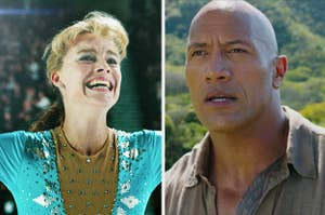 """Margot Robbie in """"I, Tonya"""" side by side with Dwayne Johnson in """"Jumanji: Welcome to the Jungle"""""""