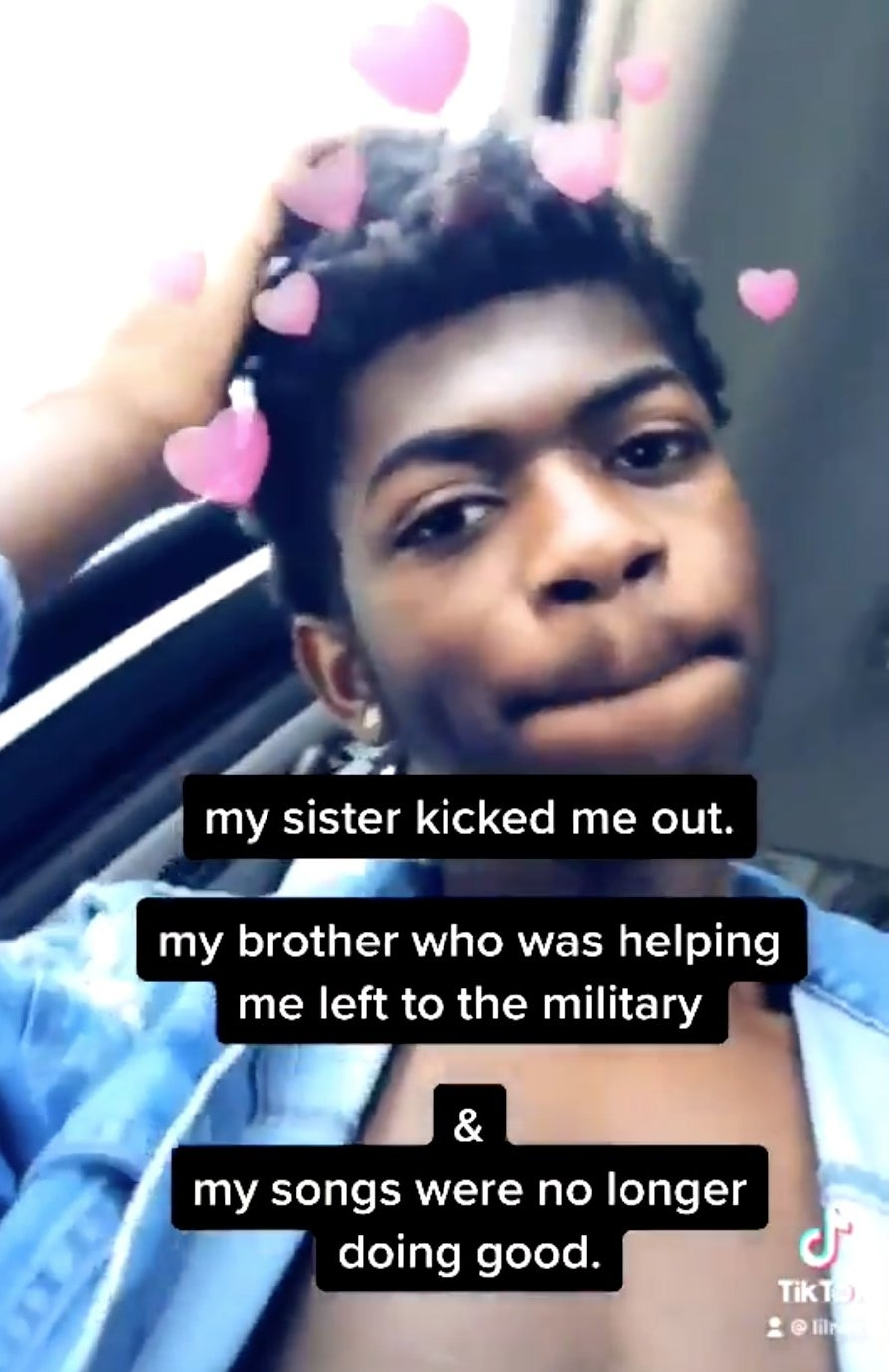 """Lil Nas X on TikTok with the caption, """"My sister kicked me out. My brother who was helping me left to the military & my songs were no longer doing good"""""""