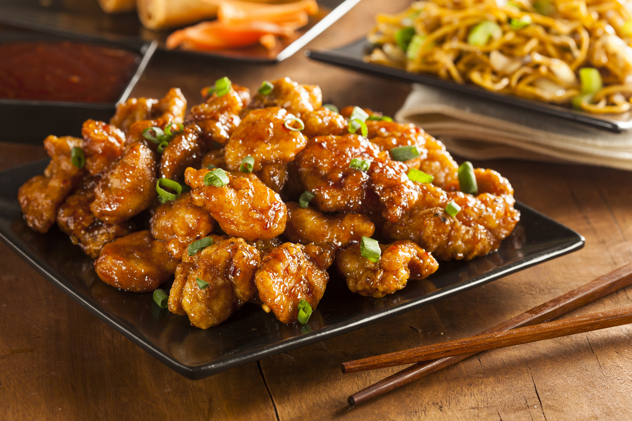 Plate of orange chicken.