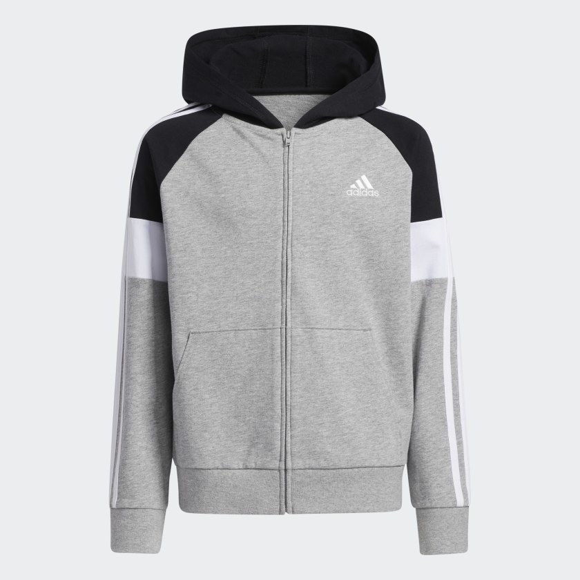 A grey, white and black colorblock zip-up
