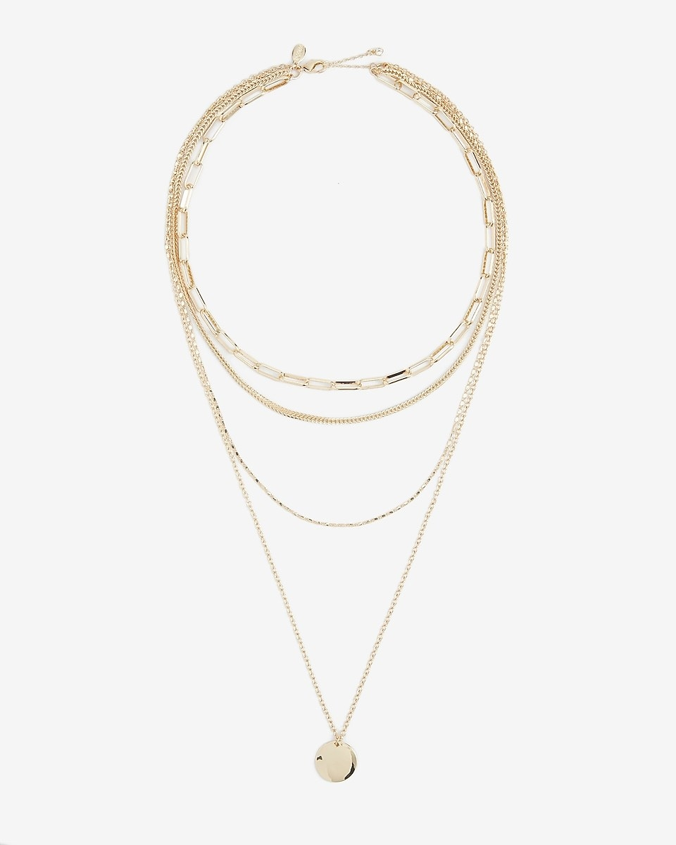 the layered chain pendant necklace