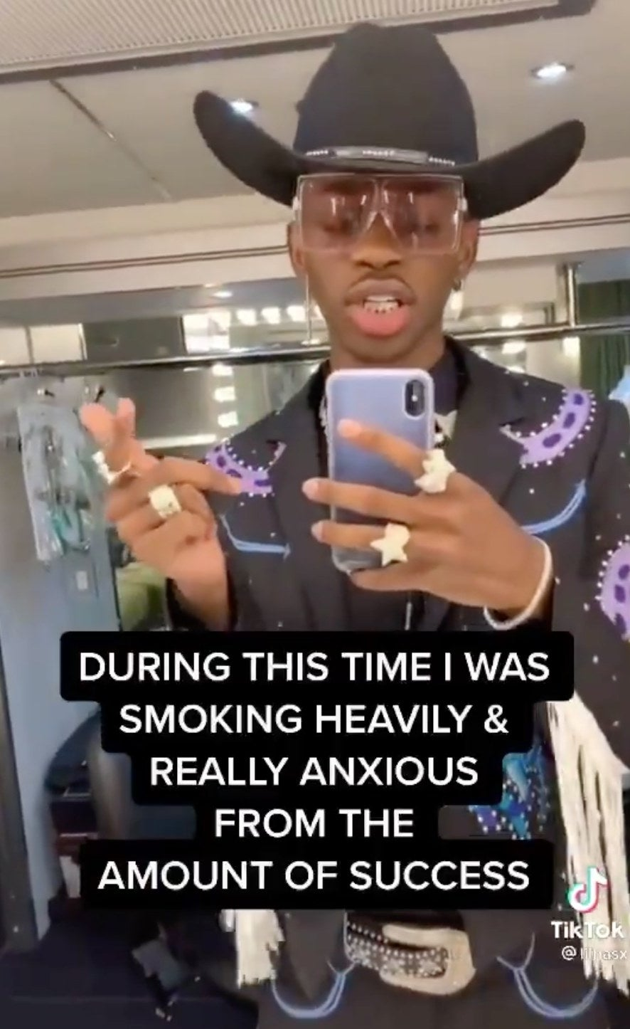 """Lil Nas X on TikTok with the caption """"During this time I was smoking heavily & really anxious from the amount of success"""""""