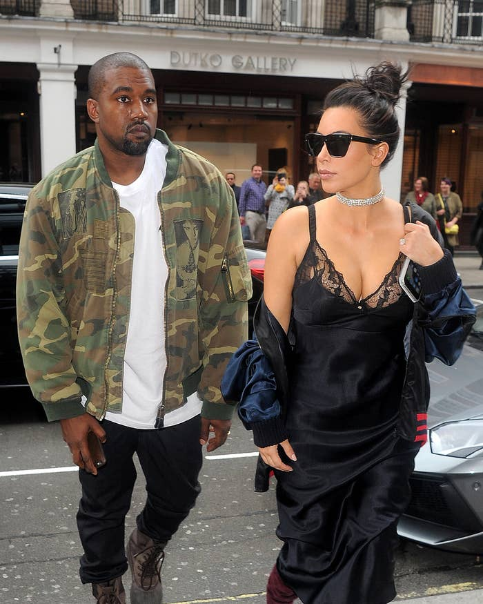 kim and kanye walking
