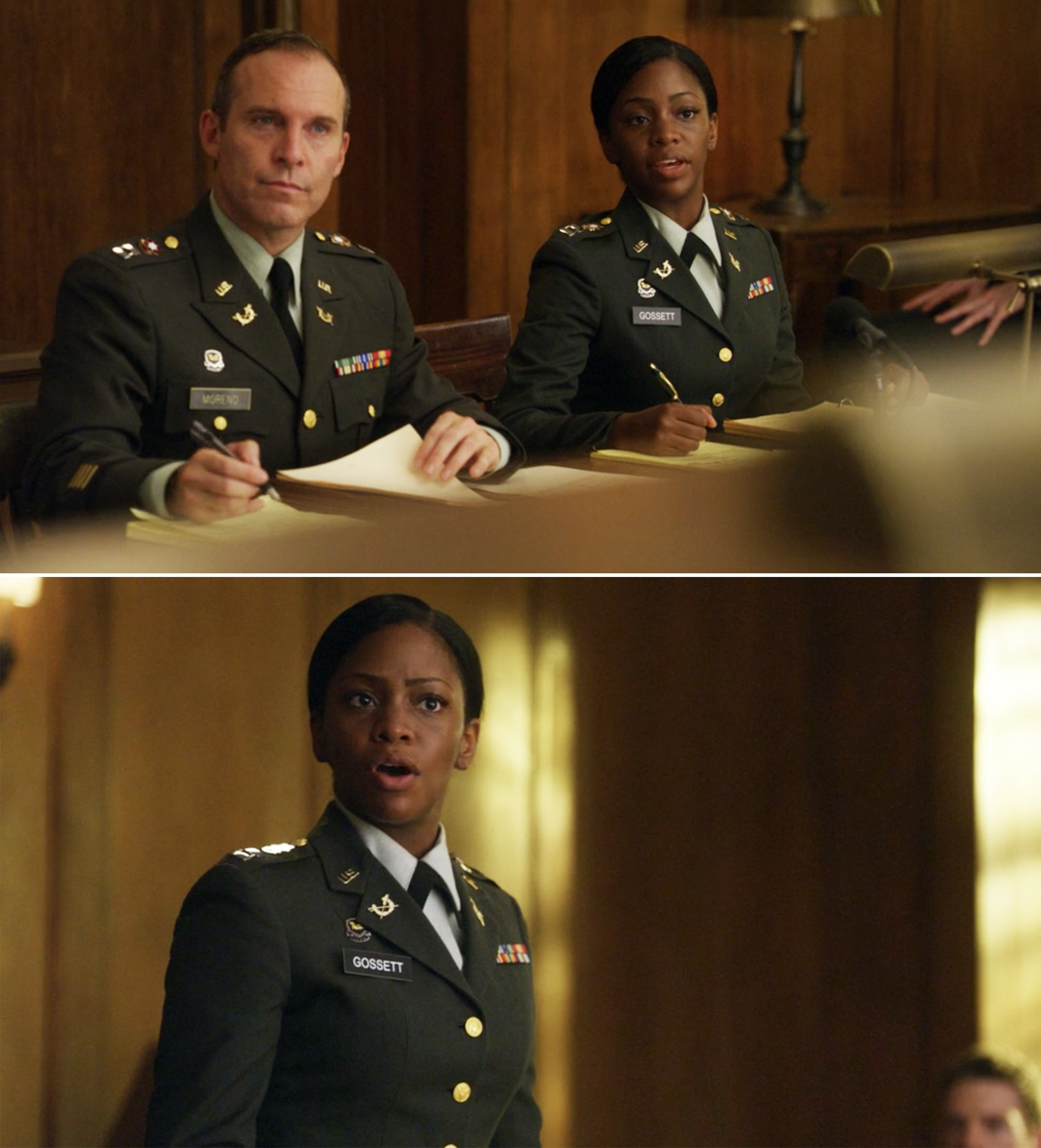 "Teyonah Parris wearing a military uniform in ""The Good Wife"""