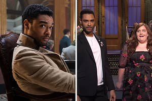 """Regé-Jean Page in """"Bridgerton"""" next to a still of his """"SNL"""" Opening Monologue"""