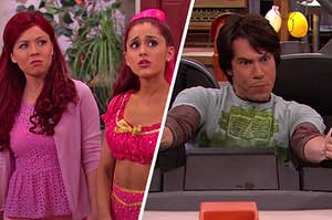 """On the left, Sam and Cat from """"Sam & Cat,"""" and on the right, Spencer from """"iCarly"""""""