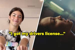 i got my drivers license label and screencap of charli damelio and music vid