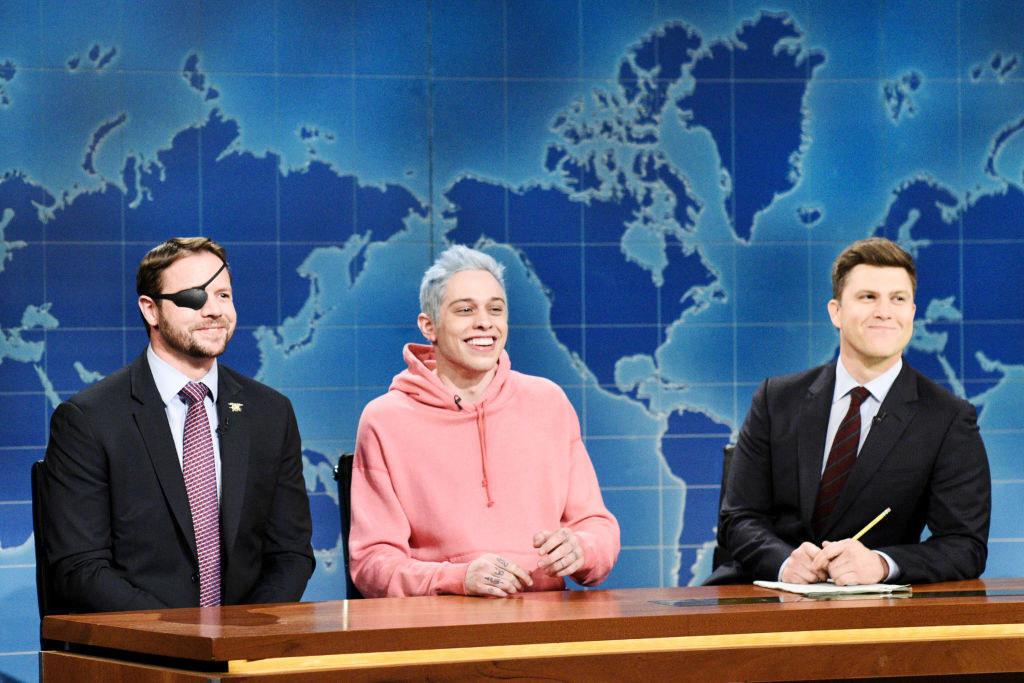"(L to R) Congressman-elect & Navy Veteran Dan Crenshaw, Pete Davidson, and Anchor Colin Jost during ""Weekend Update"""