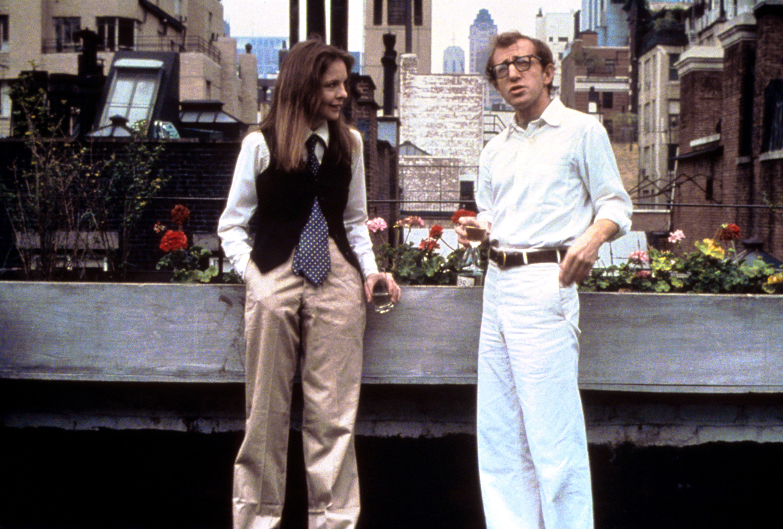 Alvy and Annie standing on a rooftop in Annie Hall