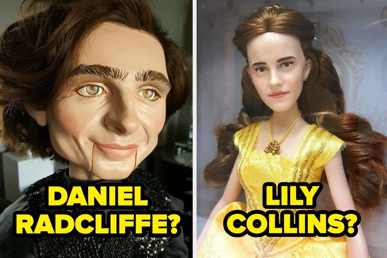 "Male doll with strong jawline with the words ""Daniel Radcliffe?"" and female doll in yellow dress with brown hair with the words ""Lily Collins?"""