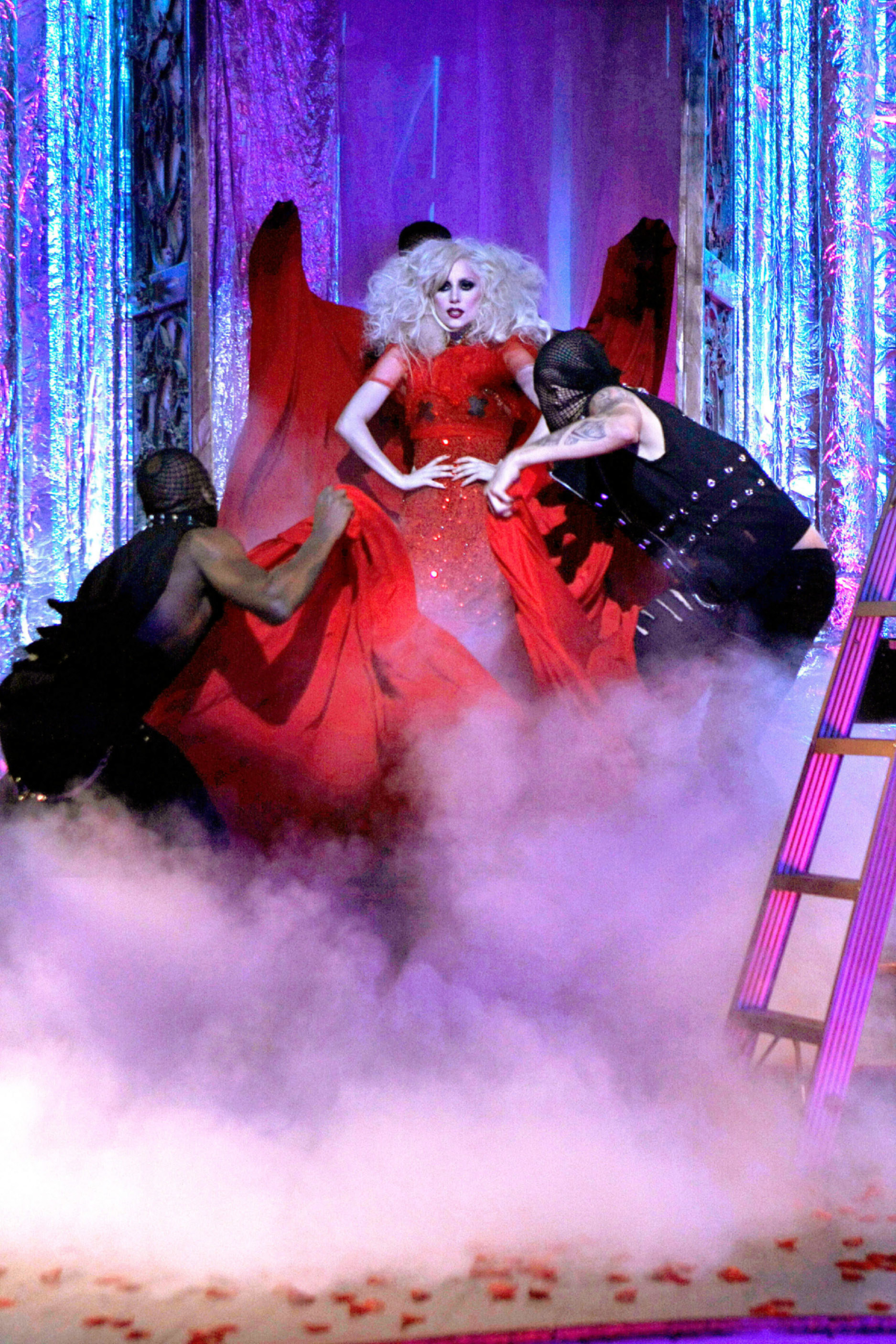 Lady Gaga performing on stage on Gossip Girl