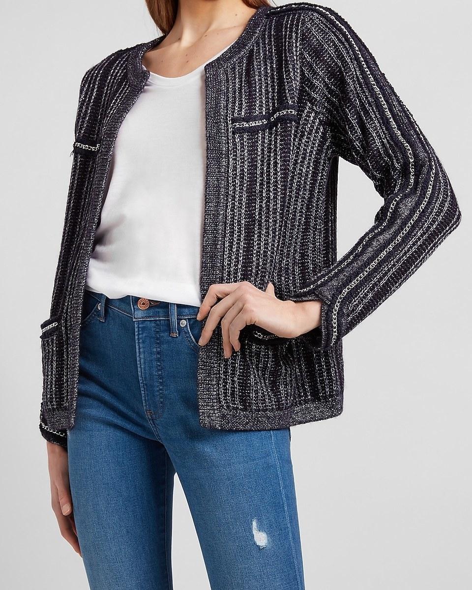 model wearing the open-front jacket