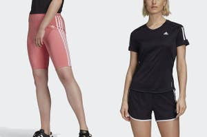 to the left: pink bike shorts, to the right: a model in a black adidas tee
