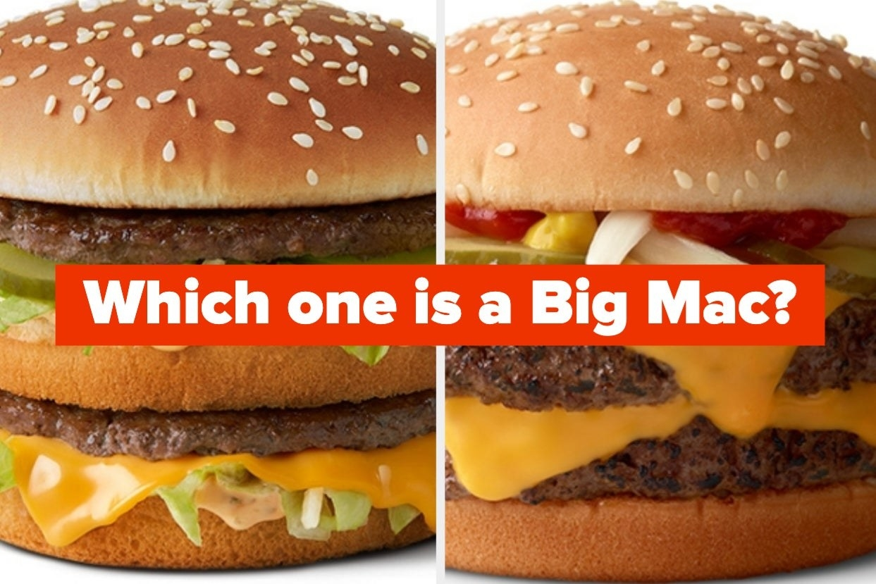 "Two large burgers with cheese, pickles, lettuce, and patties with the words ""Which one is a Big Mac?"""