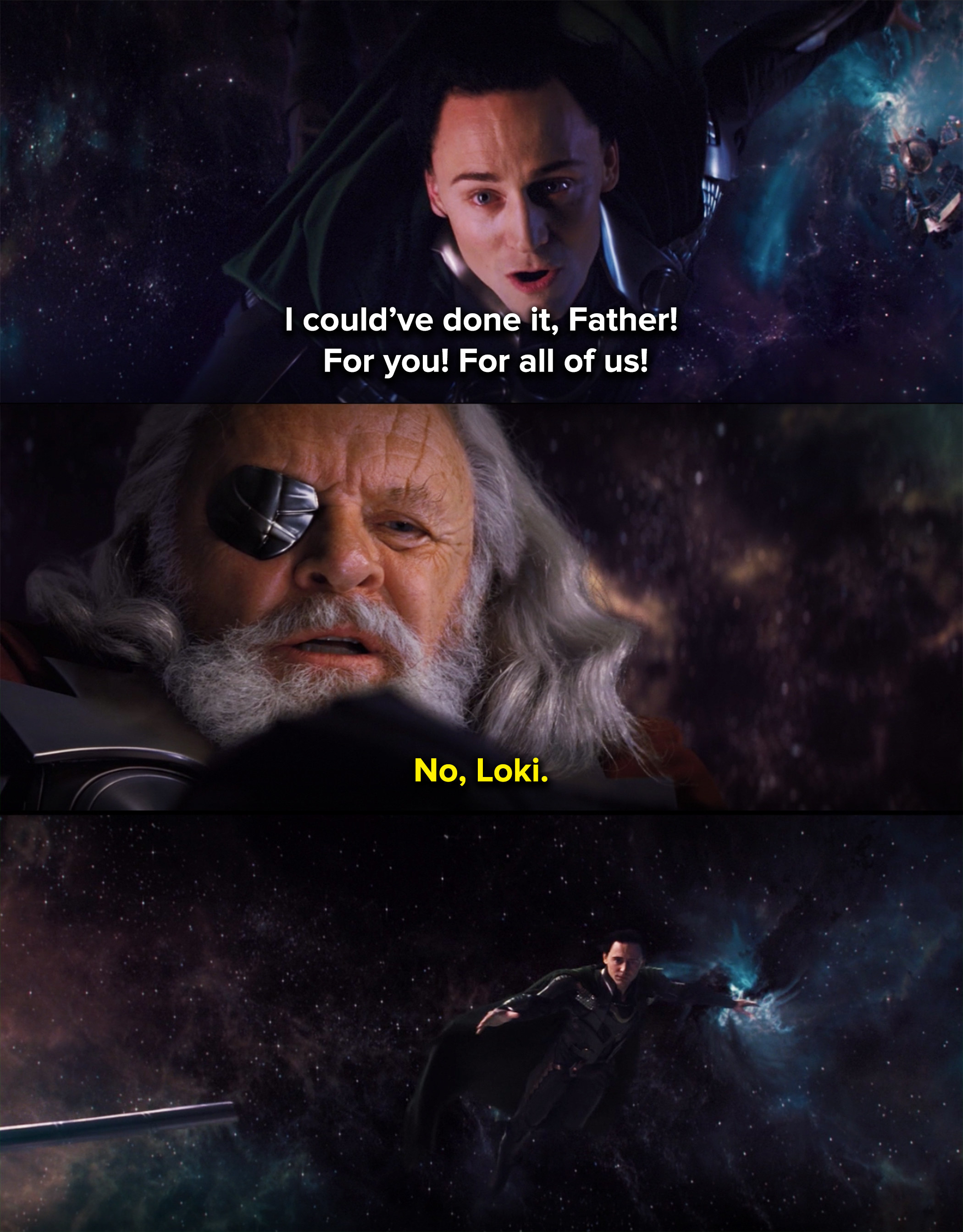 Loki falls into a black hole after Odin rejects him as his son