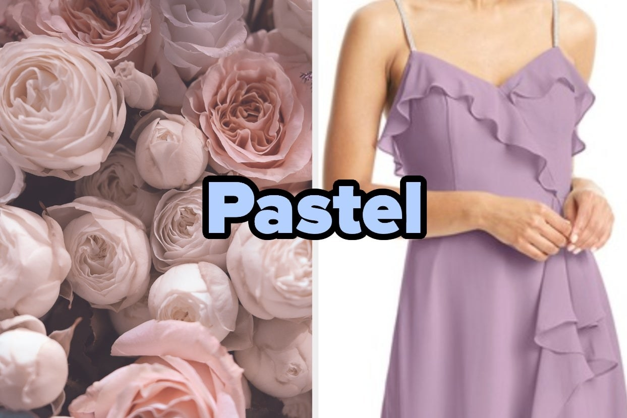 "Pink roses and purple ruffle dress with the words ""Pastel"""