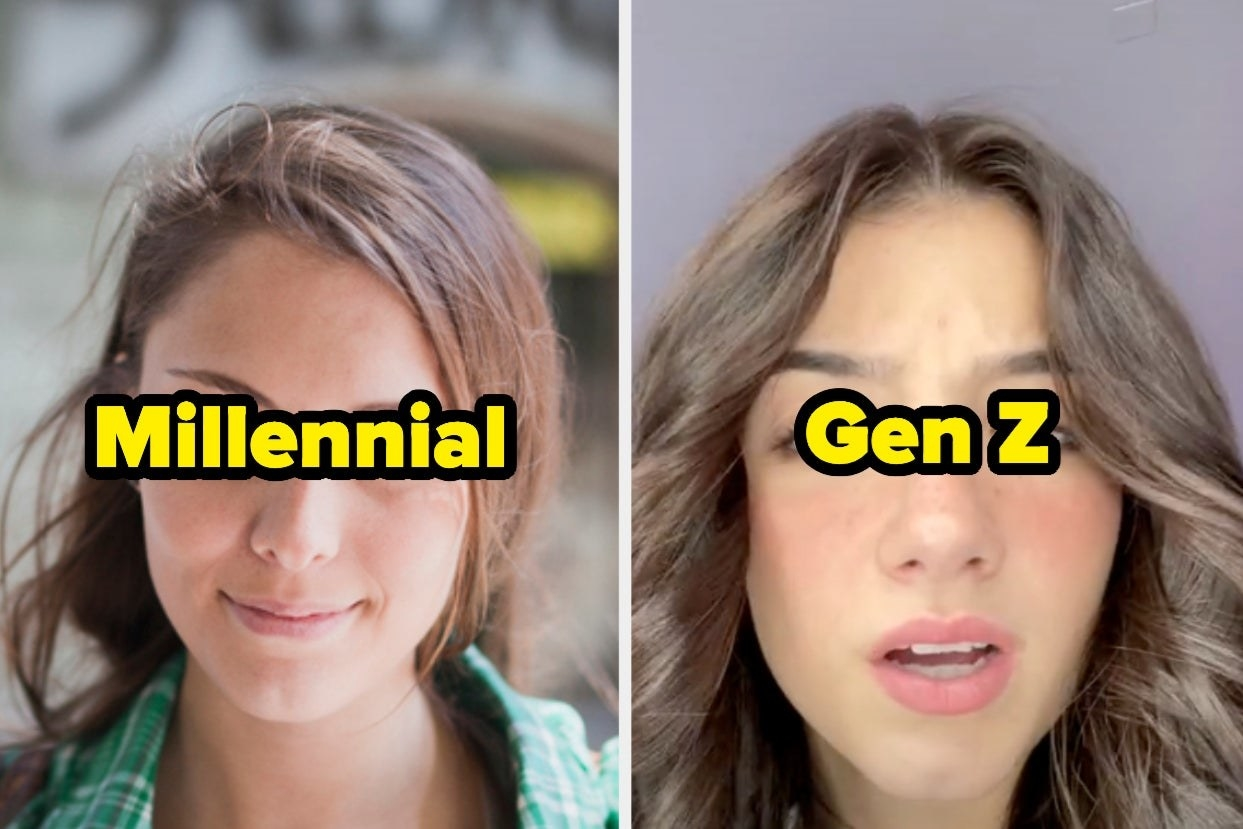 "a girl with a side part with the text ""millennial"" and a girl with a middle part with the text ""gen z"""