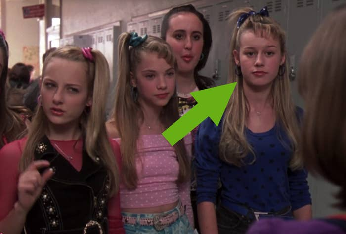 arrow pointing to Brie Larson in 13 Going on 30