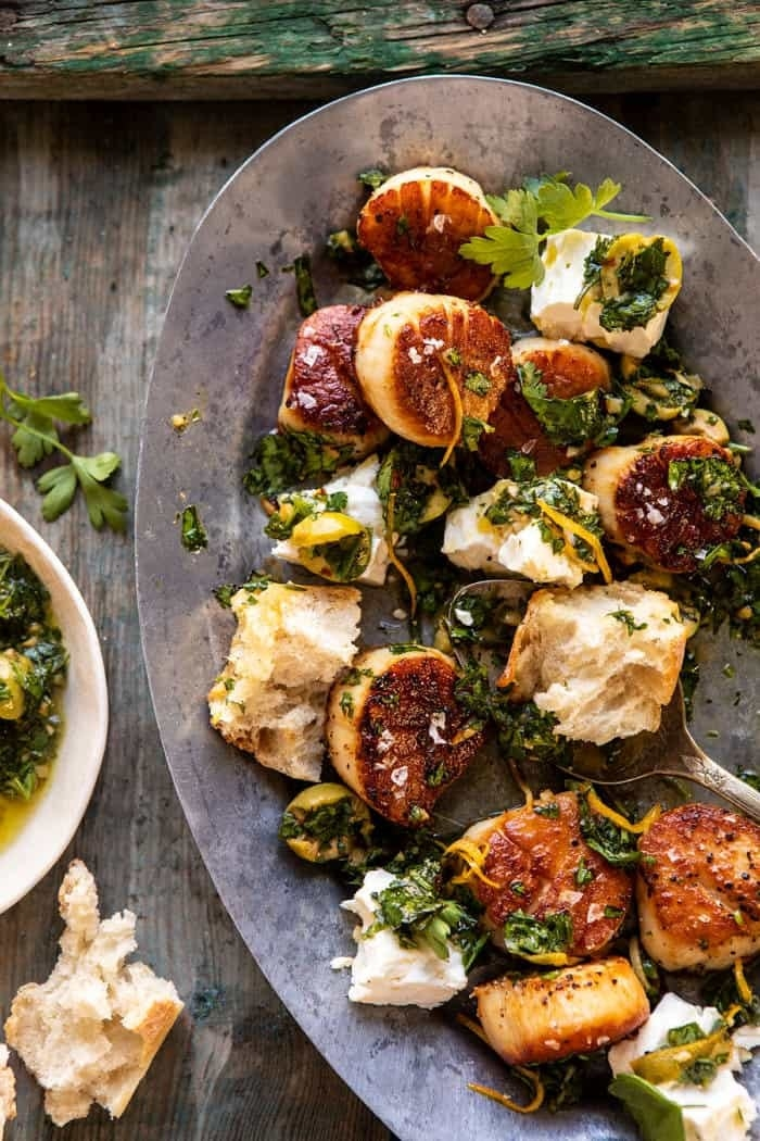 Scallops with herbs and feta.