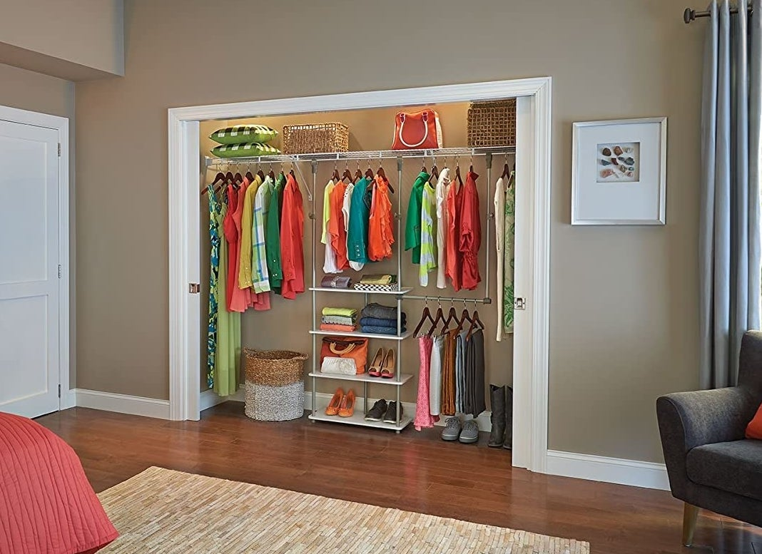 a closet with the organizer inside of it