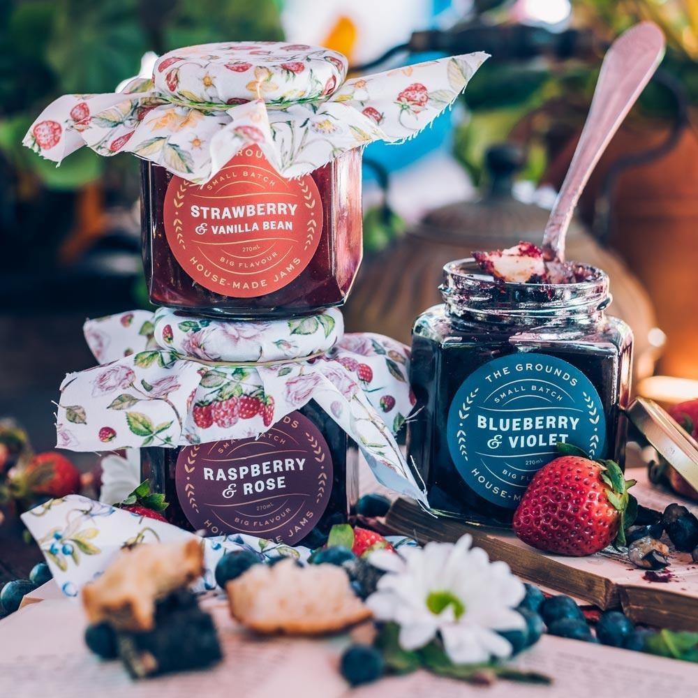 three jars of jam