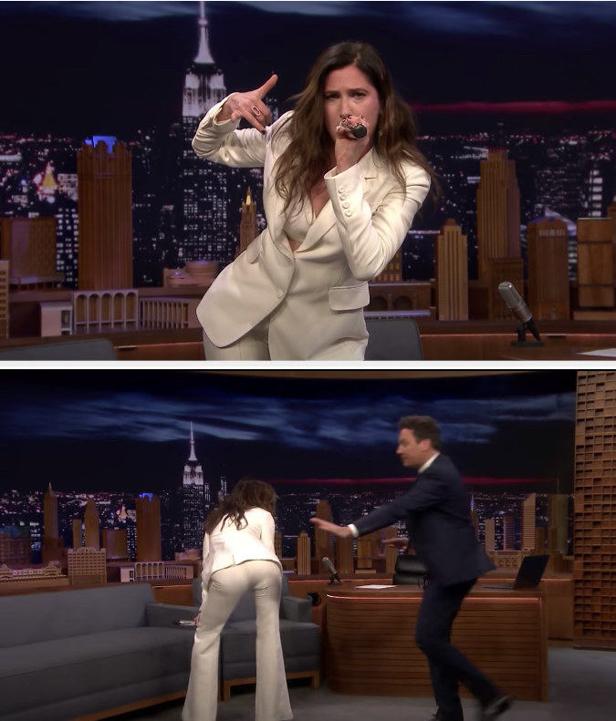 Kathryn singing and dancing, Jimmy Fallon trying to stop her