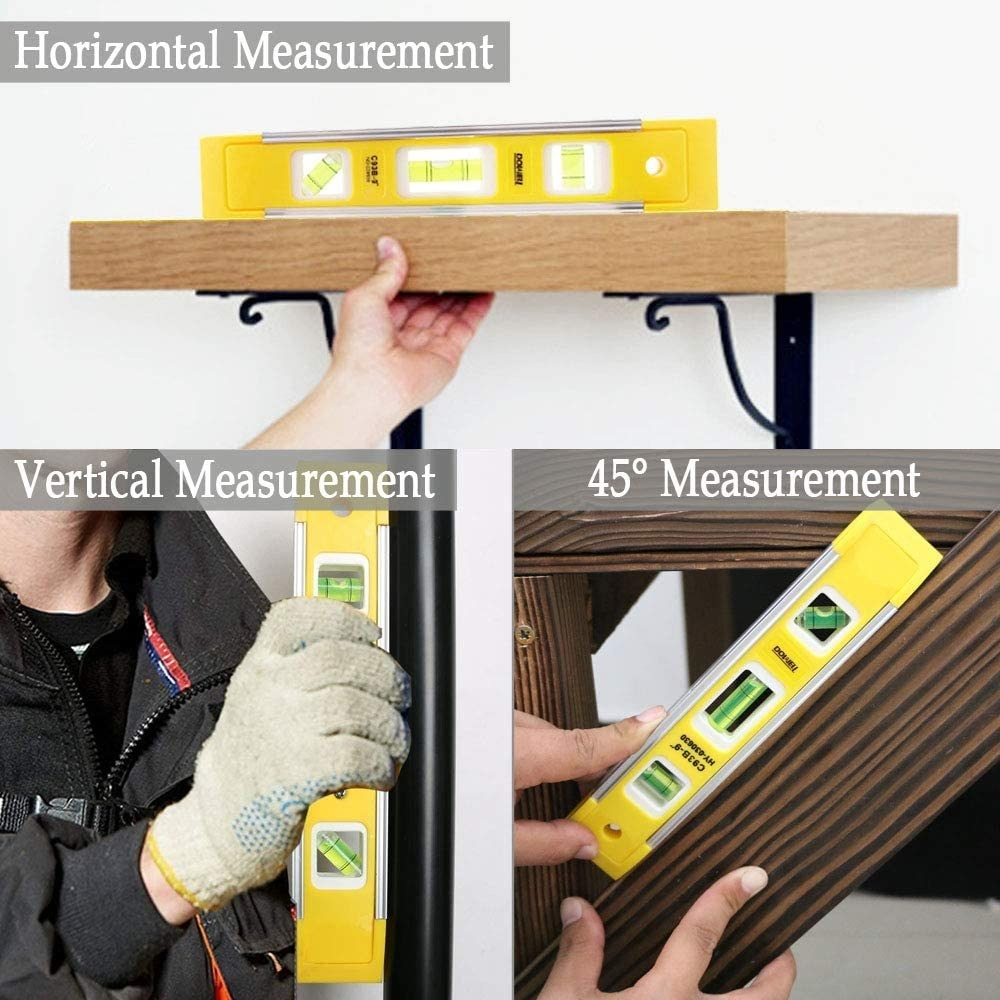 model using the tool to level things vertically, horizontally, and 45 degrees