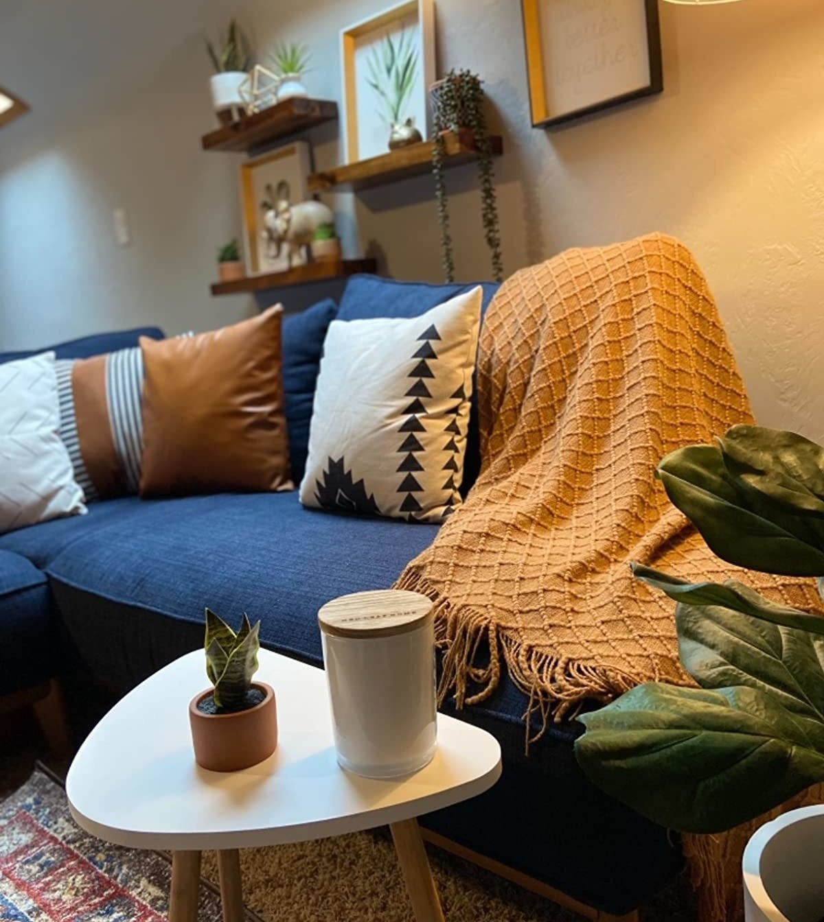 reviewer image of a decorated living room and the cashew Graced Soft Luxuries Throw Blanket draped on the couch