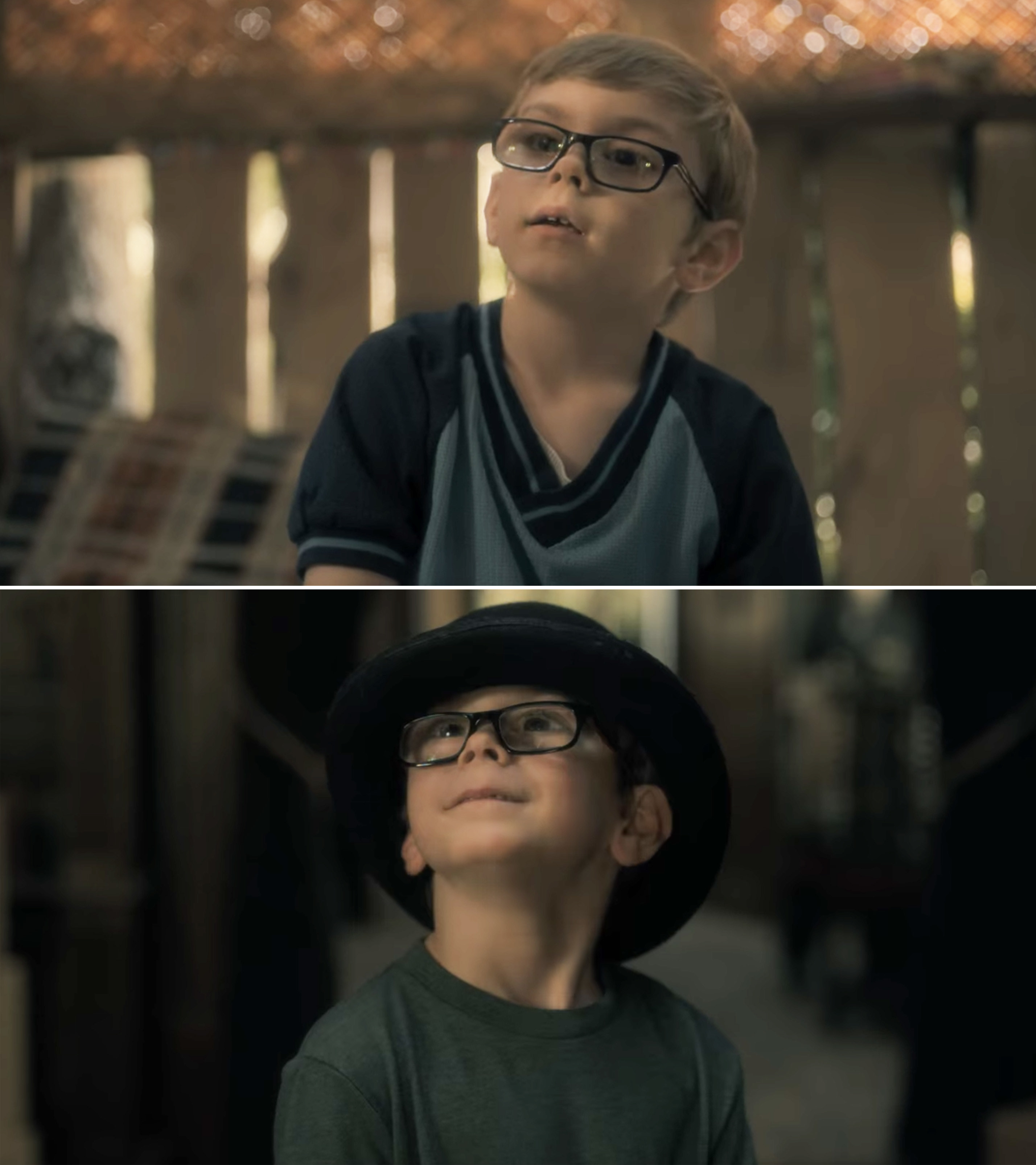 "Julian Hilliard as young Luke Crain wearing a hat and glasses on ""The Haunting of Hill House"""