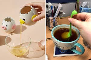 to the left: a ceramic egg separator that looks like a chick, to the right: a tea diffuser that looks like a dinosaur