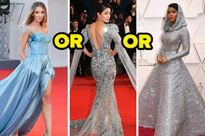 Three different red carpet gowns