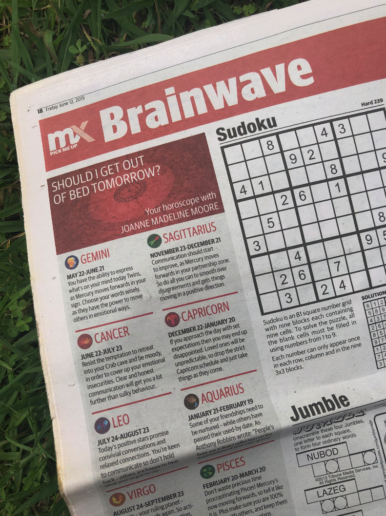 """A photo of mX's """"Brainwave"""" section featuring horoscopes, puzzles and sudoku"""