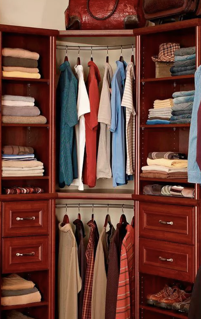 a closet unit with two layers of the curved rod