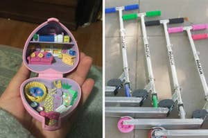 Hand holding a Polly Pocket game and Razor Scooters lying on the ground