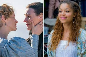 Side by side stills from Gentleman Jack and Lovesick