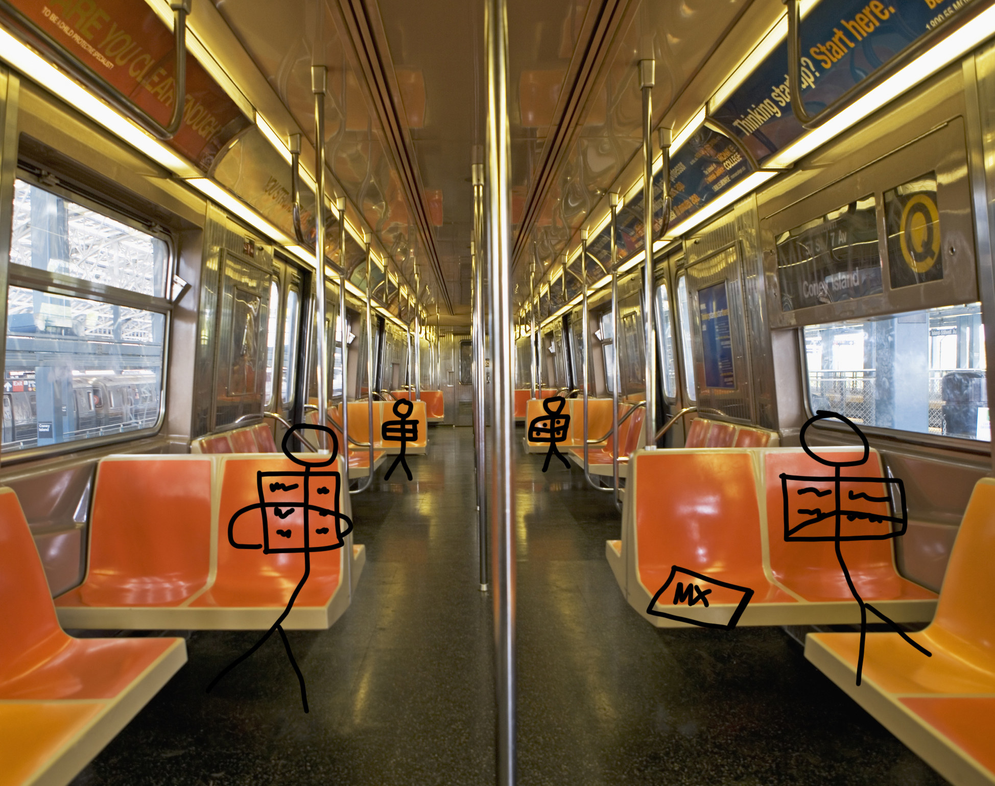 A stock image of train carriage with stick people sitting down on the seats and reading mX